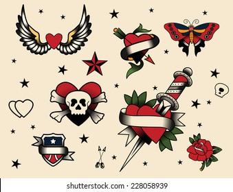 Tattoo Flash Set  Vector Illustration Icon Cartoon.