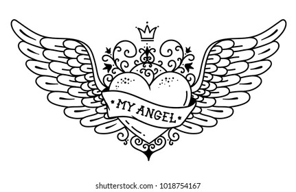 Tattoo flying heart with crown and forged ornament. Tattoo heart with wings, ribbon and flowers. Tattoo with phrase MY ANGEL. Black and white tattoo. Old school.