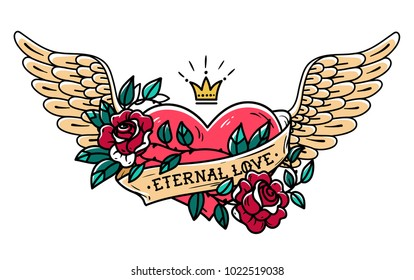 Tattoo flying heart entwined in climbing rose. Tattoo heart with wings, ribbon, roses and crown. Retro illustration. Old school tattoo