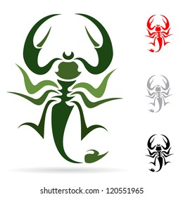 Tattoo in the form of the stylized scorpion
