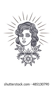 Tattoo girl face in a retro style. Vector print in hipster style. Portrait of a girl surrounded by flowers. Outline for tattoo girl's face on a white background