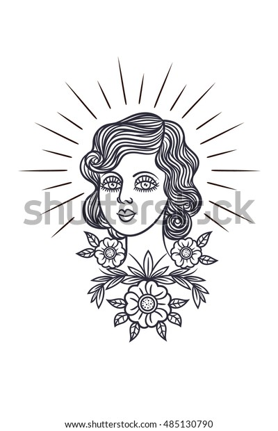 ee0e2e1f3 Tattoo girl face in a retro style. Vector print in hipster style. Portrait  of