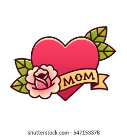 Tattoo heart with rose and ribbon with word Mom. Classic American old school retro vector illustration.