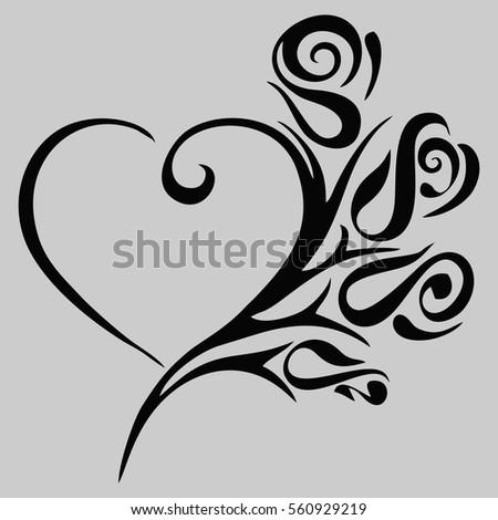 Tattoo Heart Roses Vector Illustration Black Stock Vector Royalty
