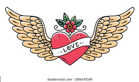 Tattoo heart with wings, flower and ribbon with lettering Love. Old school style. Flying heart. Line art drawing.