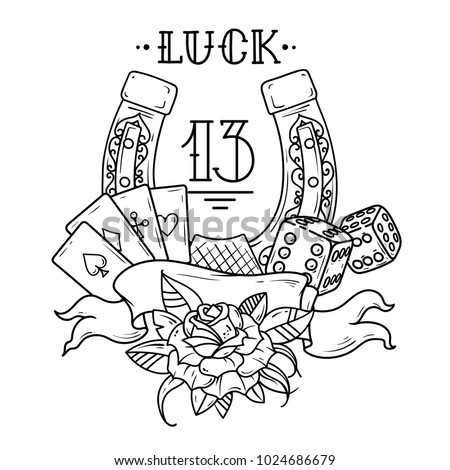 Tattoo Horseshoe Playing Cards Dice Rose Stock Vector ...