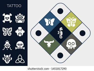 tattoo icon set. 13 filled tattoo icons.  Collection Of - Seahorse, Hannya, Triquetra, Alchemy, Skull, Butterfly, Punk, Dragon