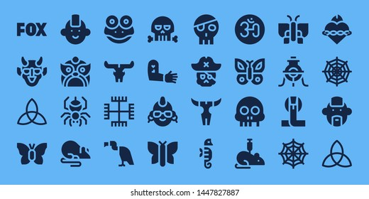 tattoo icon set. 32 filled tattoo icons. on blue background style Simple modern icons about  - Fox, Hannya, Triquetra, Butterfly, Punk, Dragon, Spider, Rat, Frog, Skull, Gnosticism