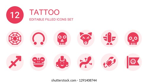 350f12a65b2e1 tattoo icon set. Collection of 12 filled tattoo icons included Pagan,  Piercing, Skull. Sagittarius ...