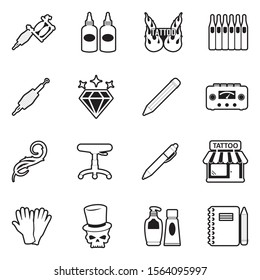 Tattoo Icons. Line With Fill Design. Vector Illustration.