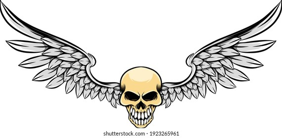 The tattoo illustration of the wide wings and the skinny dead skull