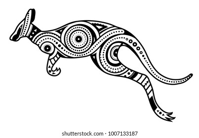 Tattoo with kangaroo shape filled with ethnic australian ornaments