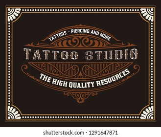 Tattoo logo with vintage ornaments. Layered
