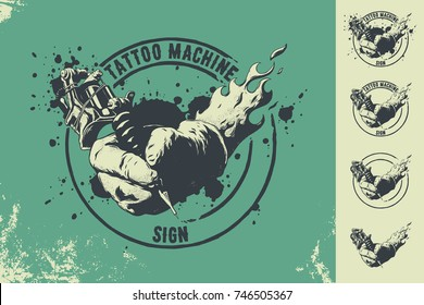 tattoo machine and hand sign