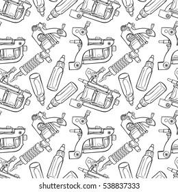 Tattoo Machine. Paints. Seamless vector pattern (background).