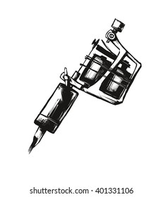 Tattoo machine. Vector illustration on  white background. Silhouette hand drawn style