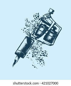 Tattoo machine. Vector illustration on blue background. Silhouette hand drawn style