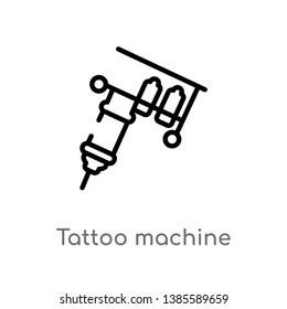 tattoo machine vector line icon. Simple element illustration. tattoo machine outline icon from other concept. Can be used for web and mobile