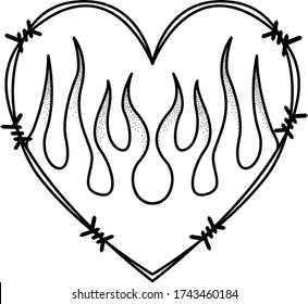 tattoo old school sketch heart flame barbed wire vector bw