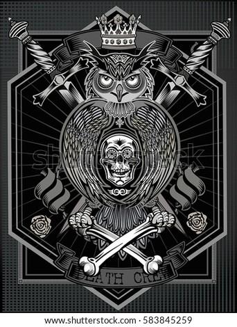 a95adf6fa Tattoo Owl Human Skull Rose Stock Vector (Royalty Free) 583845259 ...