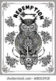 Tattoo owl and Key