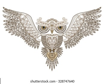 Tattoo. Owl with open wings and floral ornament and heart in his paws on white background. Vector illustration.