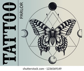 Tattoo parlor banner. Mistical butterfly is inscribed in circle of moon phases. Vector banner. Illustration for tattoo school and tattoo studio.