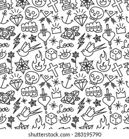 Tattoo pattern. Old school vector seamless background