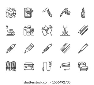 Tattoo, piercing equipment flat line icons set. Tattoo machine, needle, paint, sketch, skull, laser removal vector illustrations. Outline signs for studio. Pixel perfect. Editable Strokes.