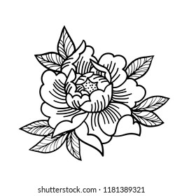 Tattoo Rose flower. Mystic symbol. Boho print, poster, t-shirt. textiles. Vector illustration art. Vintage engraving. Vintage style. Traditional art tattoos. Blackwork.