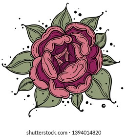Tattoo Rose flower.Tattoo, mystic symbol. Boho print, poster, t-shirt. textiles. Vector illustration art. Vintage engraving. Vintage style. Traditional art tattoos. Blackwork. Isolated vector