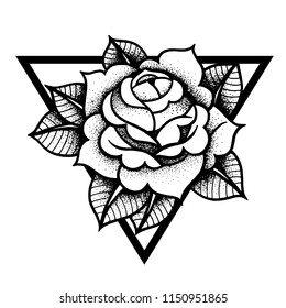 Tattoo Rose flowerwith sacred geometry frame. Tattoo, mystic symbol. Boho print, poster, t-shirt. Vector illustration art. Vintage engraving. Traditional art tattoos. Blackwork. Isolated vector