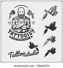 Tattoo salon emblem with professional equipment.