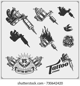 Tattoo salon emblems with professional equipment.