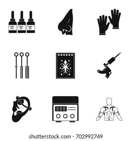 Tattoo salon equipment icon set. Simple set of 9 tattoo salon equipment vector icons for web isolated on white background
