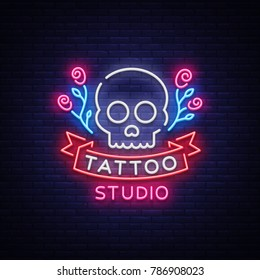 Tattoo salon logo vector. Neon sign, a symbol of a skull with roses, a bright luminous billboard, a night banner, neon bright advertising on a theme of a tattoo, for a tattoo of a salon, a studio