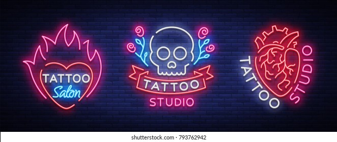 Tattoo salon set of logos vector. Collection of neon signs, symbols of the human heart, skull with roses, bright luminous billboard, neon bright advertising on tattoo theme, for tattoo salon, studio