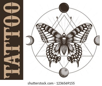 Tattoo school banner with butterfly, triangle geometry, moon phases. Mystical symbol of soul, immortality, rebirth. Vector banner for tattoo parlor, studio and school.