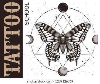 Tattoo school banner with butterfly, triangle geometry, moon phases and spray. Mystical symbol of soul, immortality, rebirth.