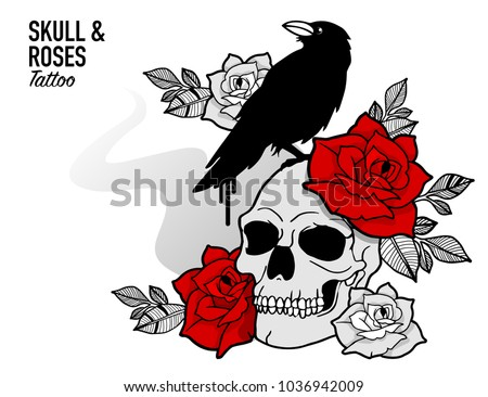 Tattoo Scull Red Roses Design Blackwork Stock Vector Royalty Free