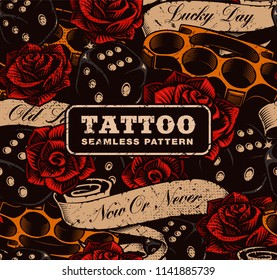 Tattoo seamless background. Vintage background with roses, dices and brass knuckles.