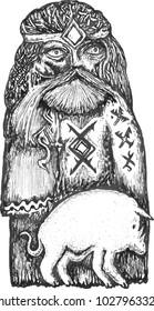 tattoo set characters of northern mythology. ethnography Vikings. Scandinavian motifs. vector illustration, fantasy suite . Nordic ethnics (slavic). pantheon gods.
