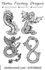 Tattoo set with hand drawn fantasy dragons. Engraved vector illustration, black and white doodle drawings