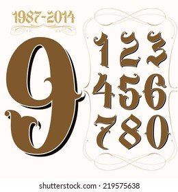 Tattoo set of LA style gangster numbers