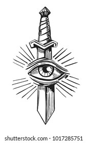 Tattoo sketch with dagger and eye. Hand drawn illustration converted to vector