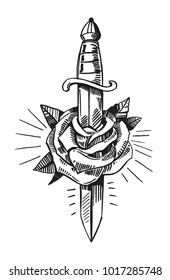 Tattoo sketch with dagger and rose. Hand drawn illustration converted to vector