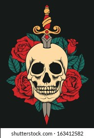tattoo skull with roses and knife