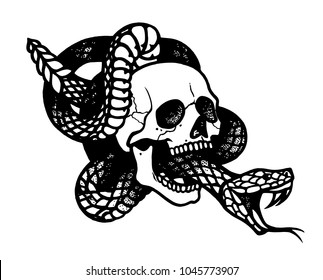 Tattoo with skull and snake. Traditional black dot style ink. Isolated vector illustration. Traditional Tattoo Old School Tattooing Style Ink. Snake silhouette illustration. Black serpent.