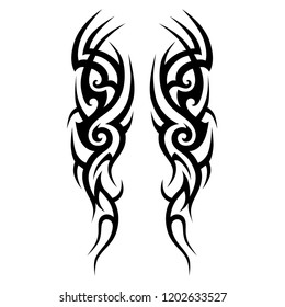 tattoo sleeve tribal, vector pattern elements for tattoo men right and left hand and shoulders, art deco idea tattoos  design body, vector couple celtic tribal design elements ornament on arms