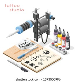 Tattoo studio accessoires tools supply isometric composition with ink design sketches liner shader machine background vector illustration